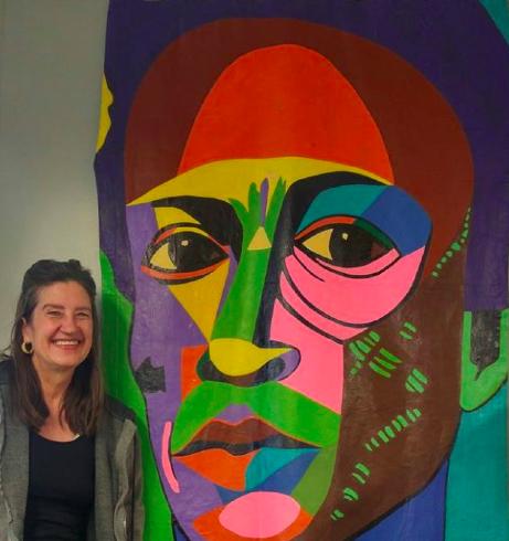 Marcia Gawecki & her Miles Davis banner